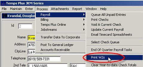 TempsPlus Payroll Print W2s