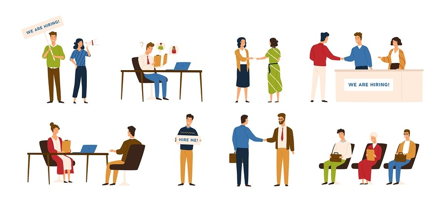 Collection Of People Taking Part In Recruitment Or Hiring Proces